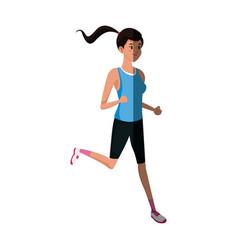 character girl sport runner fitness life style vector image