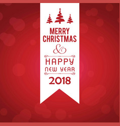 christmas greetings card with red background with vector image