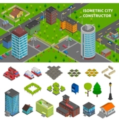 City Constructor Isometric Banners vector image