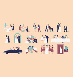 collection of bride and groom preparing for vector image