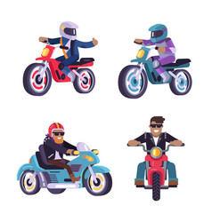 collection of motorized bikes racers men isolated vector image