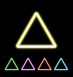 colorful neon triangle sign vector image