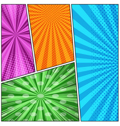 Comic book page colorful template vector