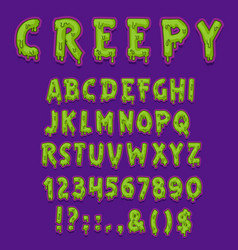 Creepy halloween font green slime letter type vector