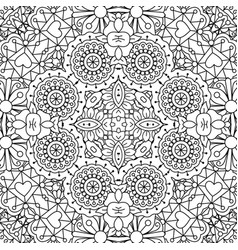 Doodle ornamental pattern with flowers vector
