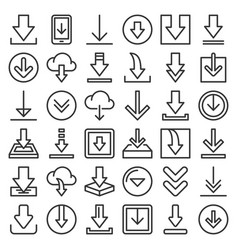 download icon set on white background line style vector image