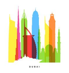 dubai landmarks bright collage vector image