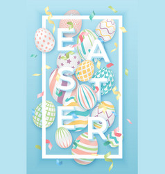 Easter background with 3d ornate eggs text vector