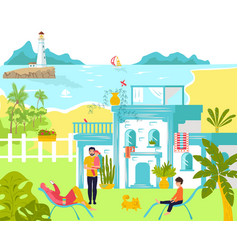 family at summer vacation together sea beach vector image