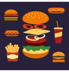 Flat icons of assorted takeaway food vector