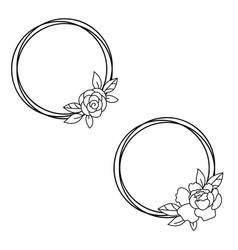 Floral frame circle wreath monogram simple vector