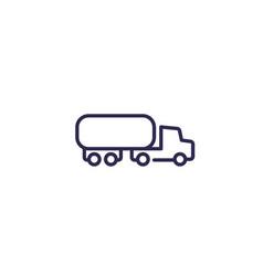 Fuel tanker truck icon line vector