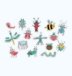 funny bug set collection happy cartoon insects vector image