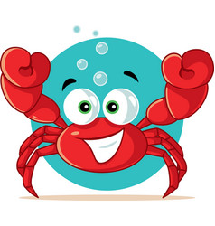 funny red crab cartoon vector image