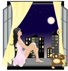 Girl at the window in the night vector image