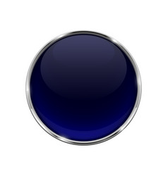 glass blue shiny 3d button with metal frame vector image