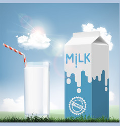 Glass of milk and cardboard packaging dairy vector