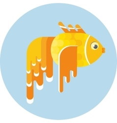 Golden fish icon vector