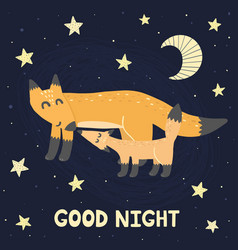 good night print with super cute foxes vector image