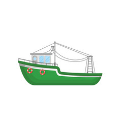 Green fishing trawler ship for industrial seafood vector