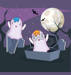 halloween ghosts cartoons vector image