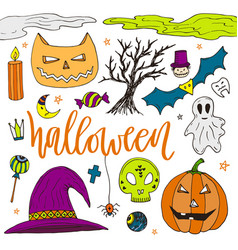 Halloween hand drawn doodle icons color stickers vector