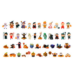halloween icons big set halloween holiday party vector image