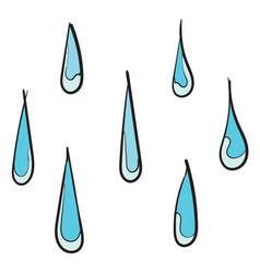 handdrawn water drop icon design template doodle vector image