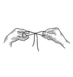 hands tie shoelaces sketch engraving vector image