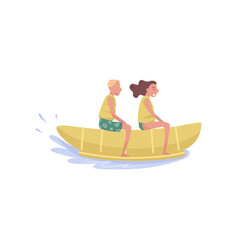 happy young couple riding on banana boat extreme vector image