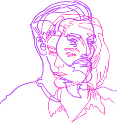 He and she pair two faces continuous line vector