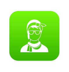 hipster woman icon digital green vector image
