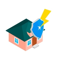 House protect by shield icon isometric 3d style vector
