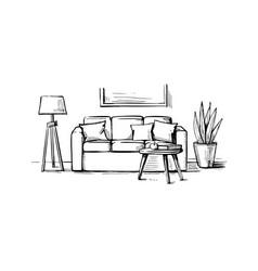 interior design doodle vector image