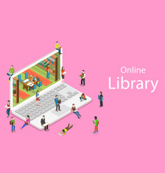 isometric flat concept of online library vector image