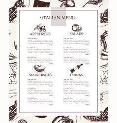 Italian menu - color hand drawn composite menu vector