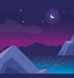 Lake and mountains at night scene vector