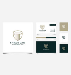 law firm shield logo design and business card vector image