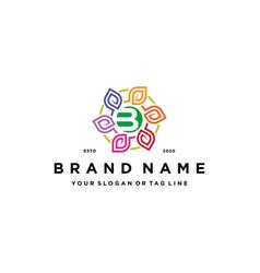 Letter b leaf colorful logo design and business vector