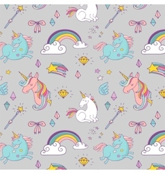 Magic hand drawn pattern - unicorn and fairy vector image