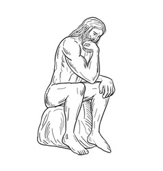 Man with beard sitting thinking drawing black and vector
