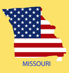 Missouri state of america with map flag print vector