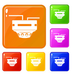 Monitor socket icons set color vector
