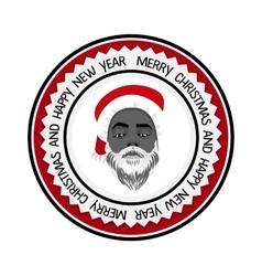Monochrome flat daring hipster black Santa Claus vector