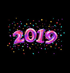 New year 2019 celebration pink foil balloons vector