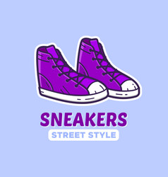Pair of sneakers icon or shoes shop logo vector