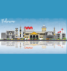 Palermo italy city skyline with color buildings vector