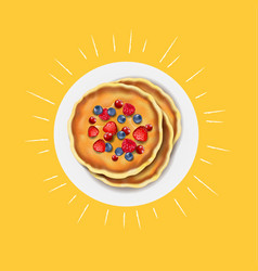 Pancakes with fresh berry vector