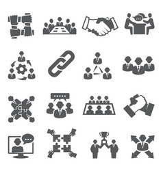 partnership icons set on white background vector image