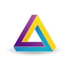 Pen rose triangle- Tricolor 3d Business logo vector image